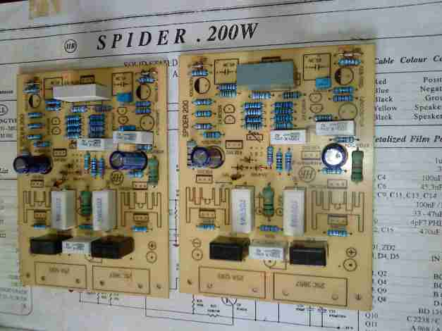 Two identical spider PCB for stereo amplifier