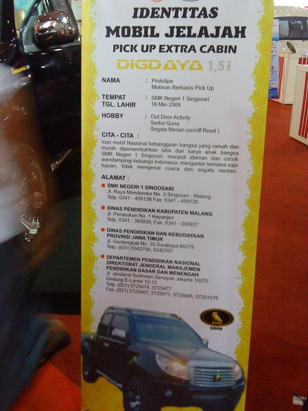 Spesifikasi umum mobil Digdaya.