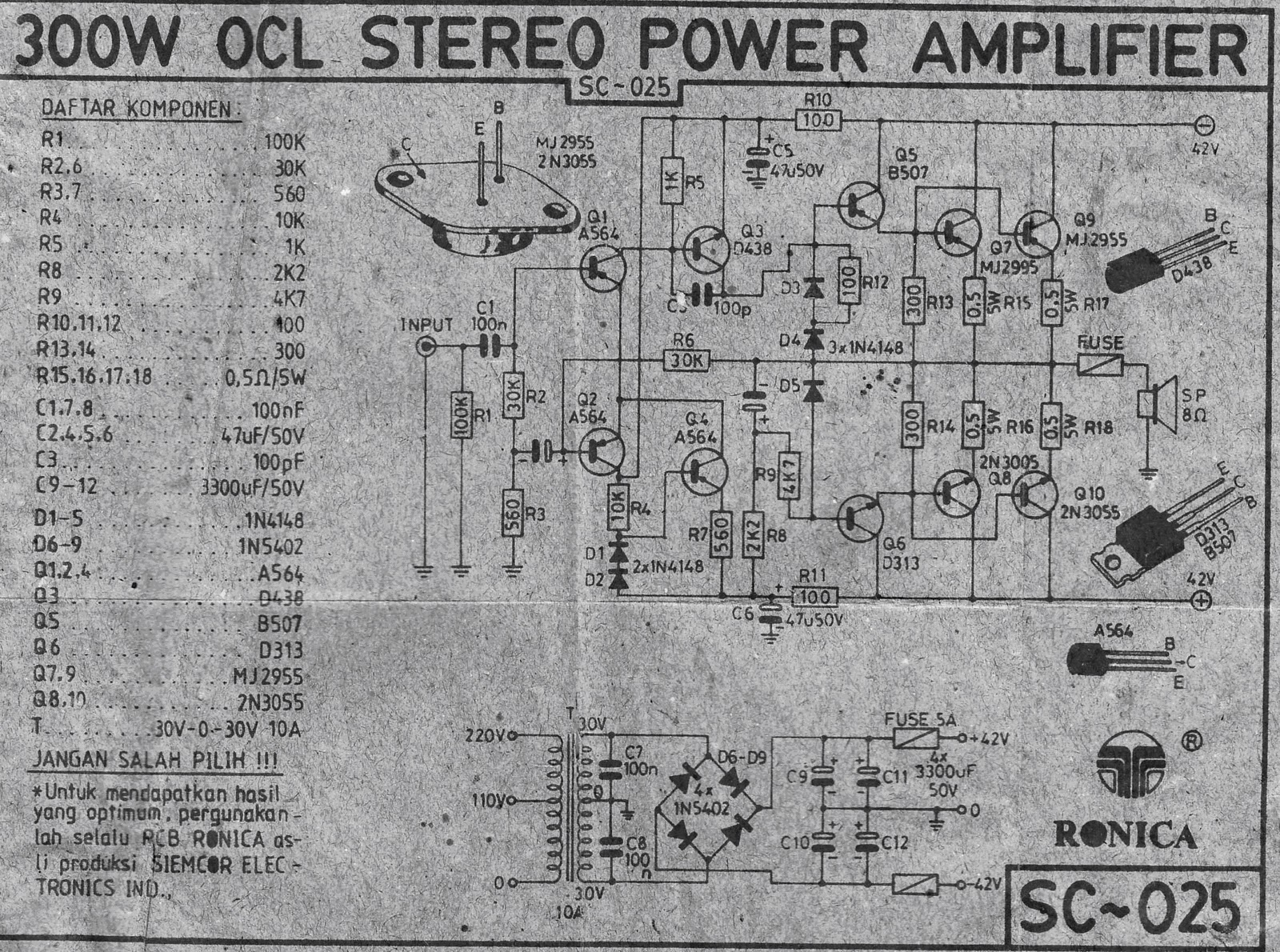 Indonesia's Legendary DIY Power Amplifier (150W OCL Amplifier)