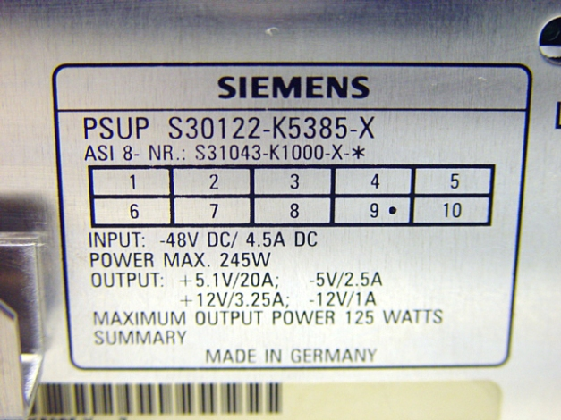 Siemens PSUP S30122-K5385-X Telecom System Power Supply Pic 4