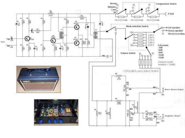 Skema Deacy Amp dengan kontrol untuk recording. Source: http://www.gitaar-in-tune.nl/